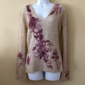 Woman mohair sweater with sleeveless silk top